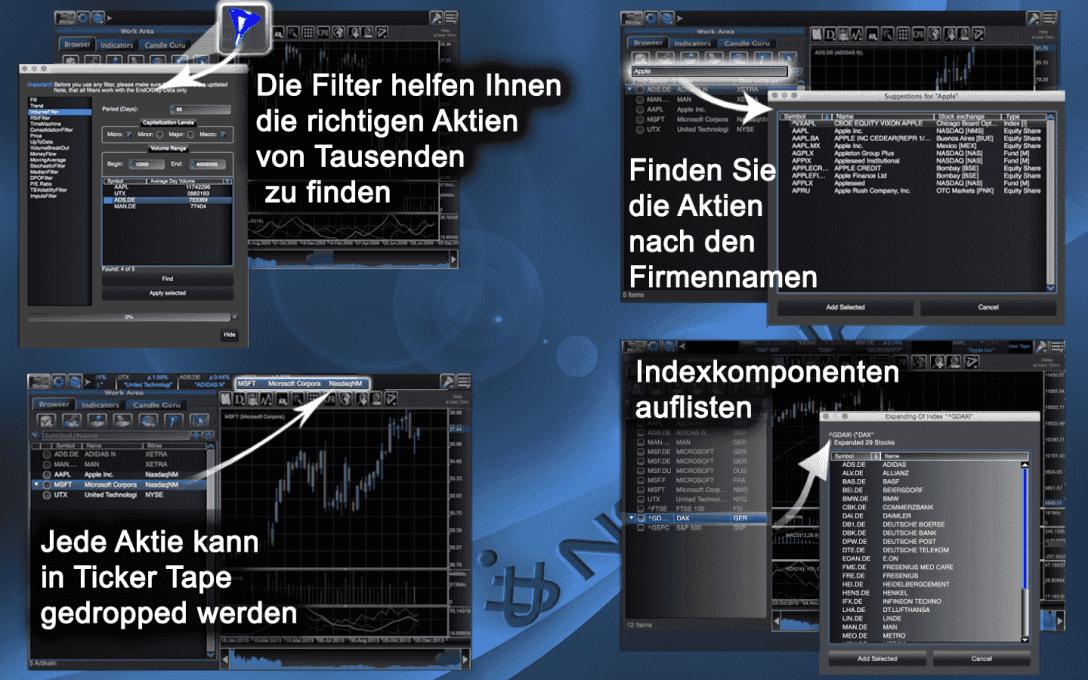 Jede Aktie kann in Ticker Tape gedropped werden.Die Filter helfen Ihnen die richtigen Aktien  von Tausenden  zu finden.